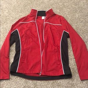 Black white and red jacket